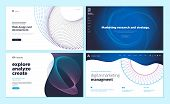 Set Of Web Page Design Templates With Abstract Background For Marketing Research And Strategy, Web D poster