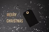 Merry Christmas Black Background And Price Label.  Black Friday. Sales Concept. Copy Space.  Black P poster