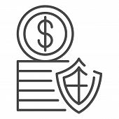 Secured Money Coin Icon. Outline Secured Money Coin Vector Icon For Web Design Isolated On White Bac poster