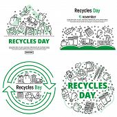Recycles Day Banner Set. Outline Set Of Recycles Day Vector Banner For Web Design poster