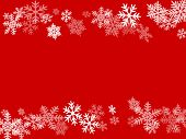 Winter Snowflakes Border Simple Vector Background.  Macro Snowflakes Flying Border Illustration, Car poster