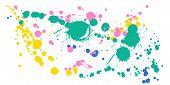 Watercolor Paint Stains Grunge Background Vector. Vintage Ink Splatter, Spray Blots, Mud Spot Elemen poster