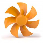Orange propeller isolated on white