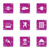 Scientific Medicine Icons Set. Grunge Set Of 9 Scientific Medicine Icons For Web Isolated On White B poster