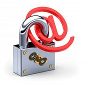 'at' Symbol in padlock 3d. Internet-e-Mail-Sicherheitskonzept