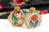 Vintage perfume bottles and scarf