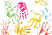 children's hands paint prints background