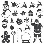 Set Of Christmas Icons. Vector Illustration. Set Include Gift Boxes Christmas Tree Wreath Snowman Sa poster
