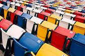 Vibrant stadium chairs.