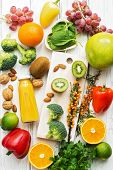 Foods High In Vitamin C. Fruits, Vegetables, Nuts, Greens, Citrus Fruits. Top View, Flat Lay. The Co poster