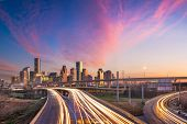 Houston, Texas, USA downtown skyline over the highways at dusk. poster