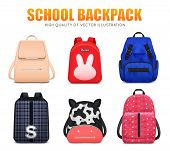 Realistic School Education Backpack Bag Baggage Set Of Six Isolated School Backpacks Of Different Sh poster