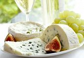 cheese, grape, figs and wine