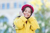 Girl With Headphones Urban Background. Positive Influence Of Music. Child Girl French Style Outfit E poster