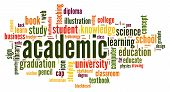 Academic Word Cloud Concept On White Background, 3d Rendering. poster