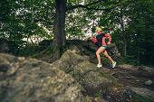 Trail Running Girl In Green Forest. Endurance Sport Training. Female Trail Runner Cross Country Runn poster