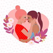Vector Illustration  Lesbian Couple. Cartoon Character Woman Lesbian. Love Card Lesbian, Wife And Wi poster