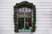 Christmas Decoration Window Cafe Or Restaurant. Christmas Decoration Window Cafe Or Restaurant. Chri poster