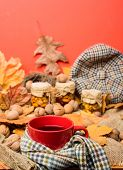 Warming Beverage Concept. Mug Of Tea Surrounded By Scarf Red Background With Fallen Maple Leaves And poster