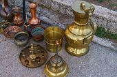 Copper And Brass Items, Coffee Pots, Jugs And Other Retro Items.september 2018. Montenegro poster