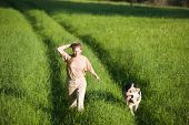 50 years old woman walking with alsatian dog at summer field