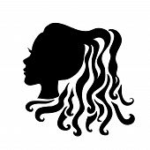 Vector Silhouettes Of Girl Hairstyles. Profile. Girls Silhouette .silhouette Of Beautiful Woman. poster