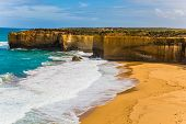 The Great Ocean Road of Australia. Magnificent beach in ocean fjord of Pacific ocean. The concept of poster