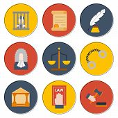 Vector Cartoon Flat Law Justice Icons Background poster