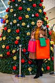 Consumerism, Christmas, Shopping, Lifestyle Concept Woman In Shopping. Happy Woman With Shopping Bag poster