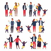 Family With Kids. Busy And Tired Parents With Naughty Children. Vector Illustration poster