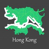 Flat Icon In Form Of Hongkong Cartography poster
