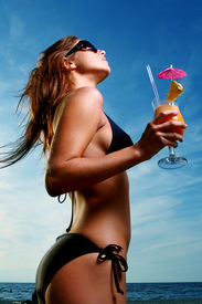 image of beach party  - beautiful young girl on the beach - JPG