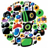 Colorful entertainment and music icons in circle