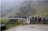 Walkers Setting Off On A Foggy Morning