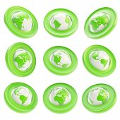 Earth Globe Emblem Tag In Nine Foreshortening