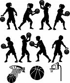picture of boy girl shadow  - Basketball Players Silhouettes of Kids  - JPG