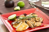 foto of dory  - Grilled Dory fish with sauteed mushroom and rosemary - JPG