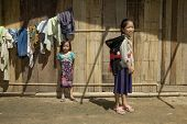 image of hmong  - Hmong girl with brother Laos children in Asia - JPG