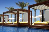 stock photo of canopy  - luxury place resort and spa for vacations - JPG