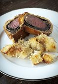 picture of beef wellington  - Fresh baked filet mignon in puff pastry with mushroom - JPG