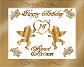 Birthday Invitation Sweet 16 Gold Satin