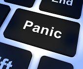 Panik Computertaste zeigen Angst Stress und Hysterie