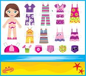 Paper Doll With Summer Set Of Clothes