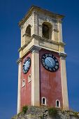 Venetian clock tower in the grounds of the old fortress Kerkyra (Corfu), Greece
