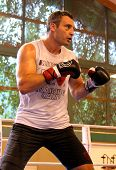 Going, Austria - August, 30: Current  World heavyweight champion boxer Vitali Klitschko  getting rea
