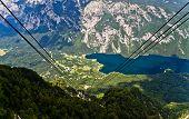 Ropeway between mountain Vogel and lake Bohinj