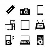 Vector icon set of electronic mobile devices