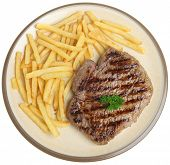 Thick rump steak with French fries.