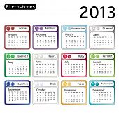 A 2013 calendar showing birthstones for each month. EPS10 vector format.