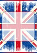 British poster with frame. A grunge flag of england with a transparent frame